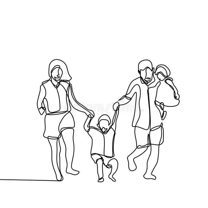 Fortlöpande linje teckningsvektorillustration som för lycklig familj isoleras på vit bakgrund vektor illustrationer