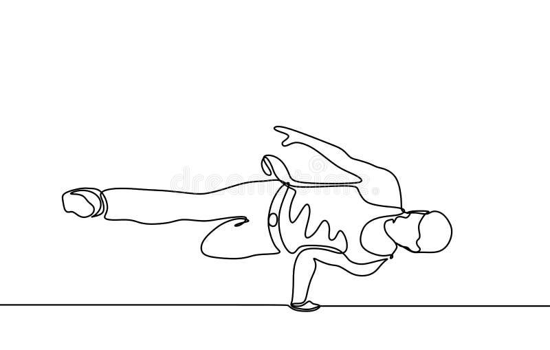 Fortlöpande linje tema för sport för dans för teckningsavbrottsdansare som isoleras på minimalist design för vit bakgrund royaltyfri fotografi