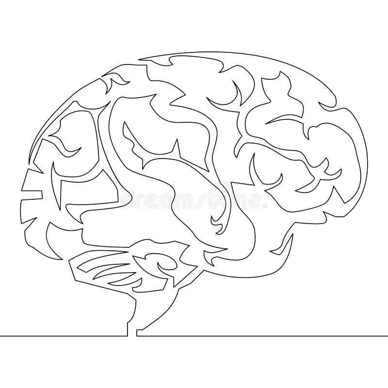Fortlöpande linje vektor för teckningshjärndesign stock illustrationer