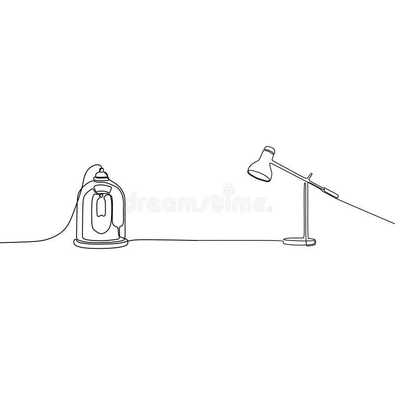 fortlöpande linje vektorillustration för stearinljuslampa och för skrivbordlampa av hand-drog lampor stock illustrationer