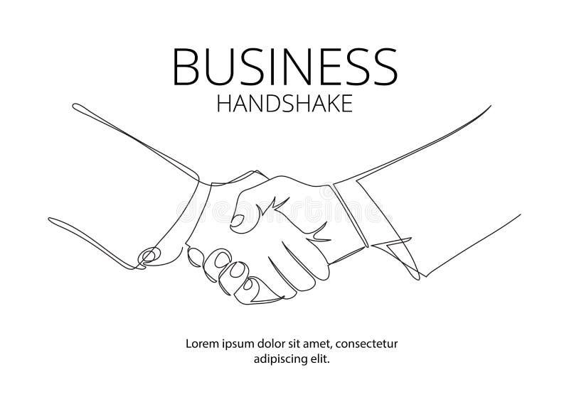 Fortlöpande linje vektorteckning för handskakning Begrepp för affärsöverenskommelsevektor vektor illustrationer