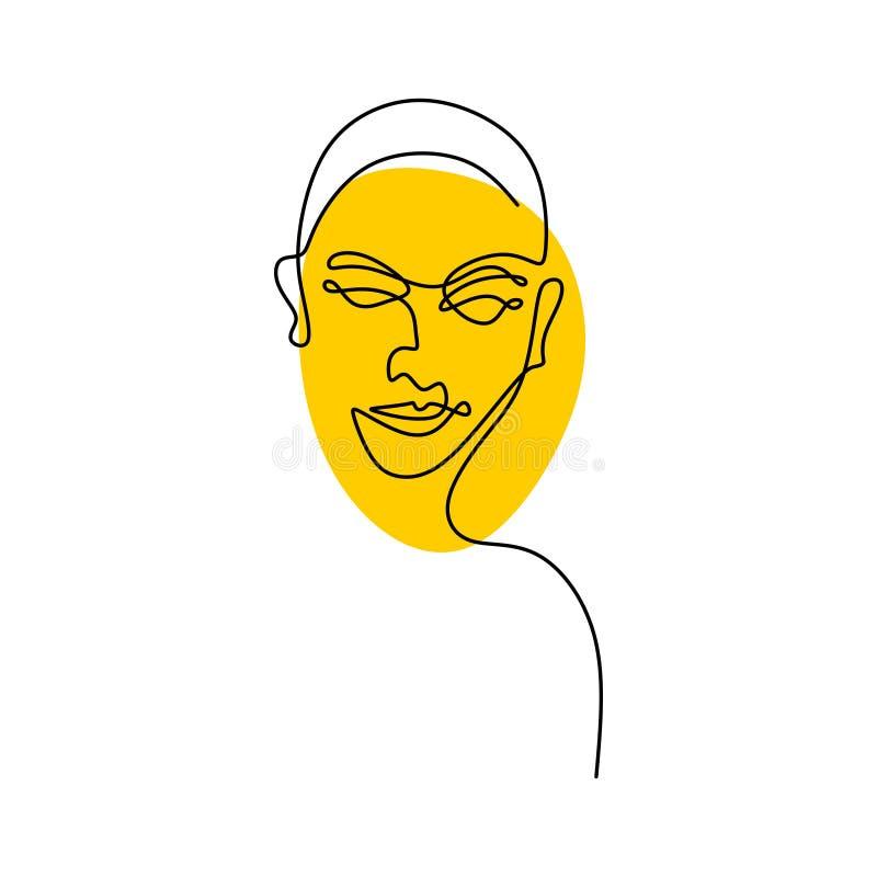 Fortlöpande minimalism för mänsklig framsida en linje teckning vektor illustrationer