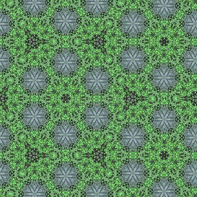 Fortlöpande modell i gräsplanrunda och blom- abstrakt mosaik stock illustrationer