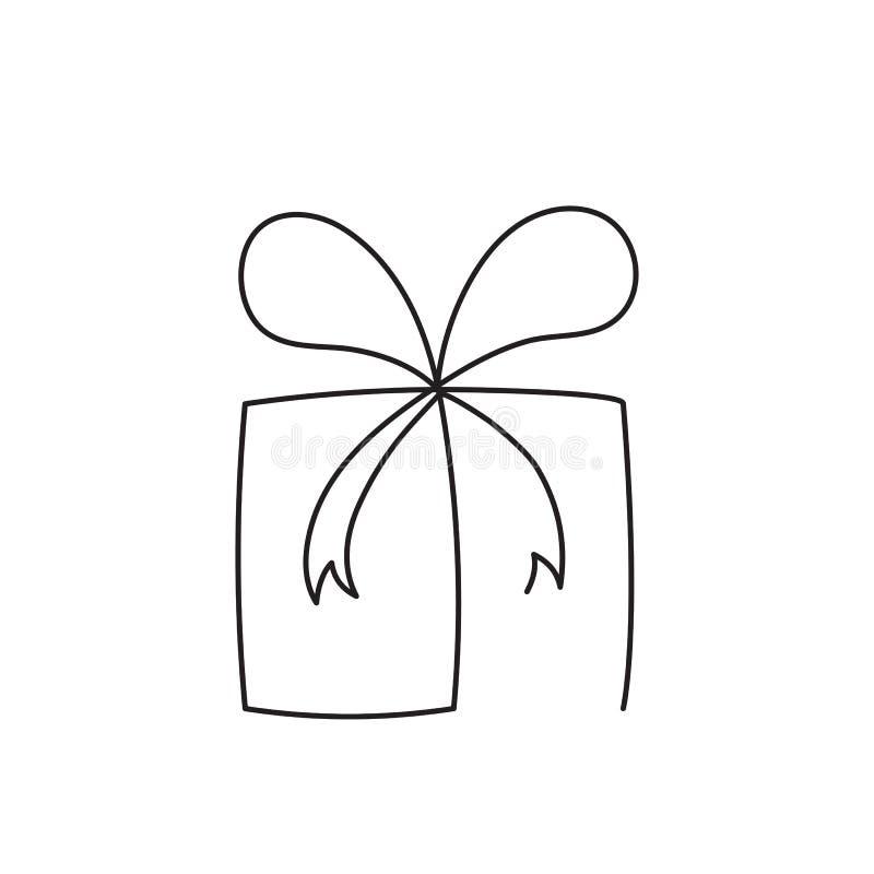 Fortlöpande redigerbar linje vektorillustration för närvarande ask Slågen in överraskningpacke med bandet och pilbågen stock illustrationer