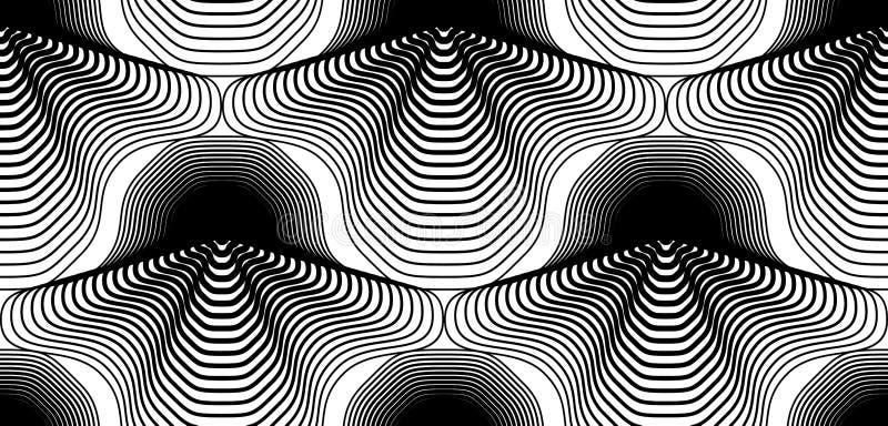 Fortlöpande vektormodell med svarta grafiska linjer, dekorativt a stock illustrationer