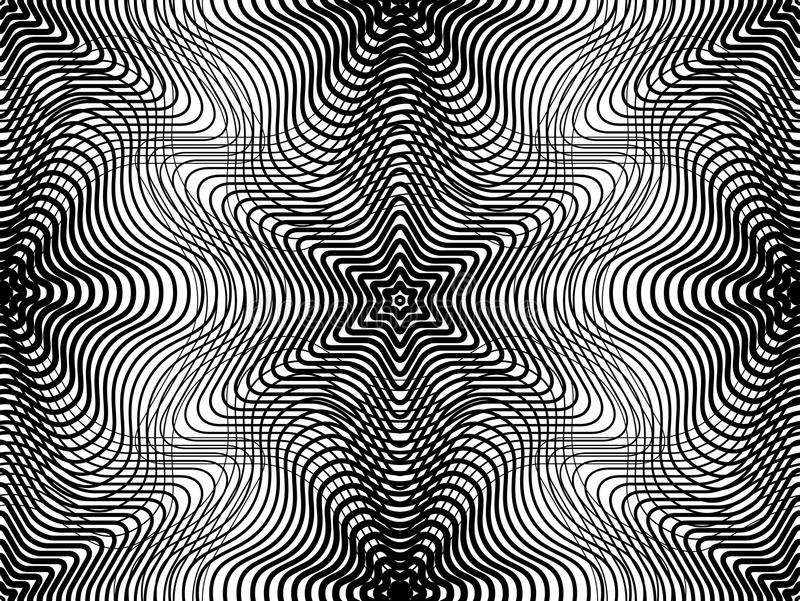 Fortlöpande vektormodell med svarta grafiska linjer som är dekorativa stock illustrationer
