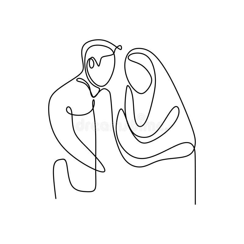 Fortl?pande linje teckning f?r muslimska par av f?r designminimalism f?r man och f?r flicka en romantisk stil vektor illustrationer