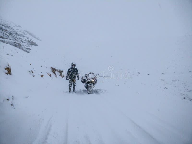 Fortleva snöstorm! arkivfoto