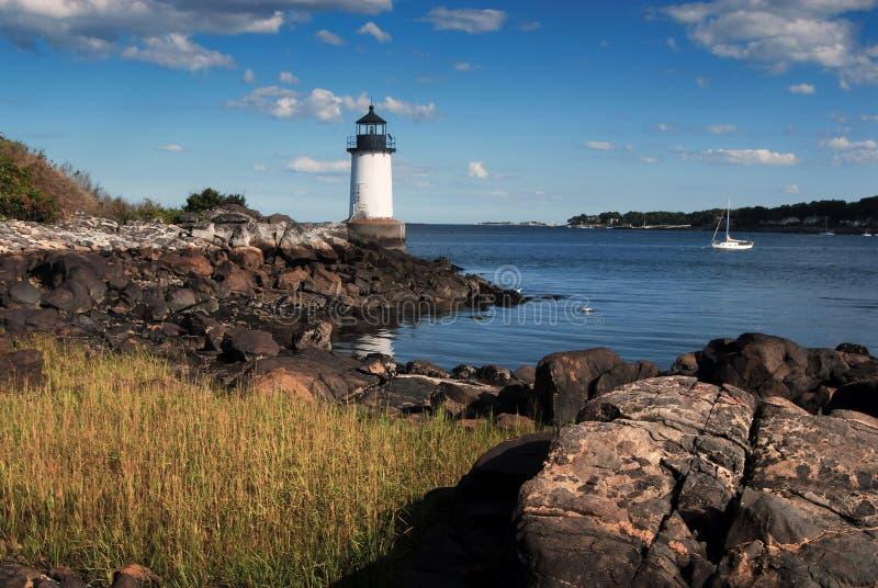 FortPickering (vinterön) ljus i Salem Massachusetts arkivbilder