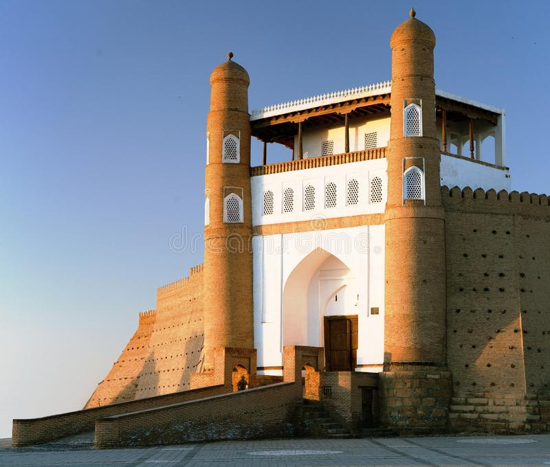Fortres Ark - Ark entrance - City of Bukhara. Evening view of fortres Ark - Ark entrance - City of Bukhara - Uzbekistan stock photo