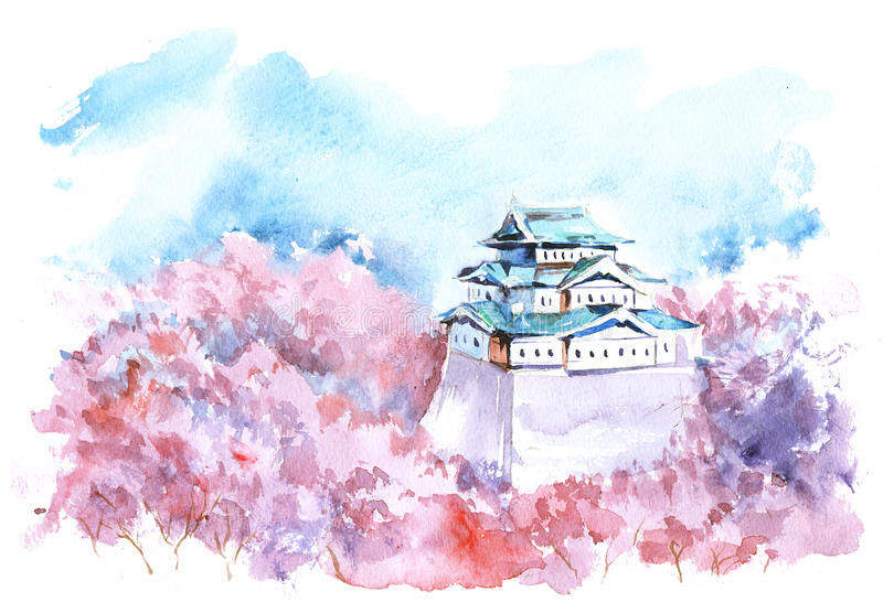 Fortress. Stronghold over the blooming trees stock illustration