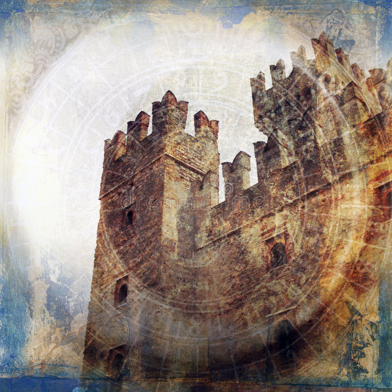 Fortress. Medieval fortress. Photo based illustration royalty free illustration