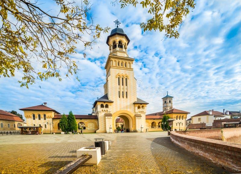 Fortress Of Alba Iulia, Transylvania, Romania. The Coronation Orthodox Cathedral and Roman Catholic cathedral in Fortress Of Alba Iulia, Transylvania, Romania stock photography