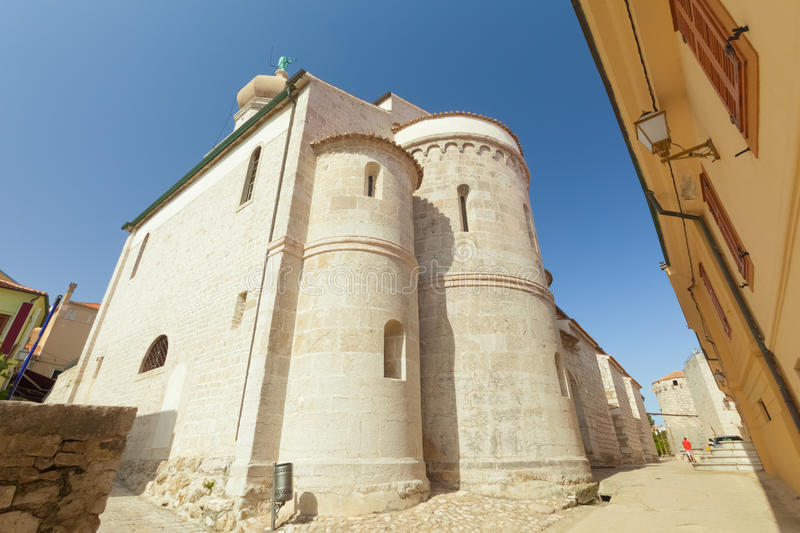 Fortress architecture of the old town of Krk, Croatia royalty free stock photo