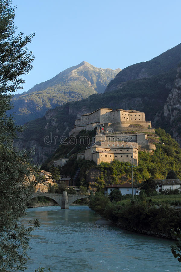 Fortress of Bard in Aosta Valley stock photo