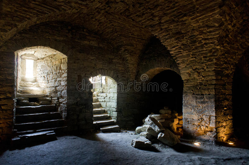 Fortress built from limestone. The old Maasi stone castle ruins. stock photo
