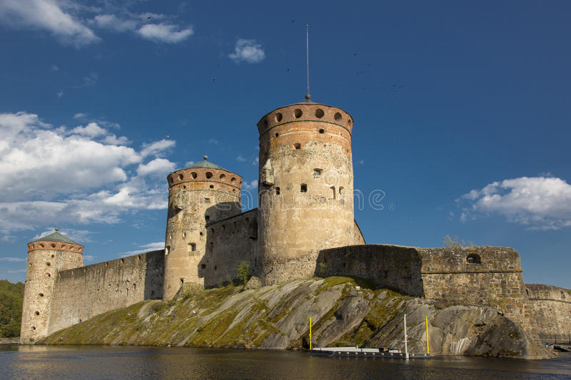 Fortress in the city of Savonlinna in Finland. Against the blue summer sky stock images