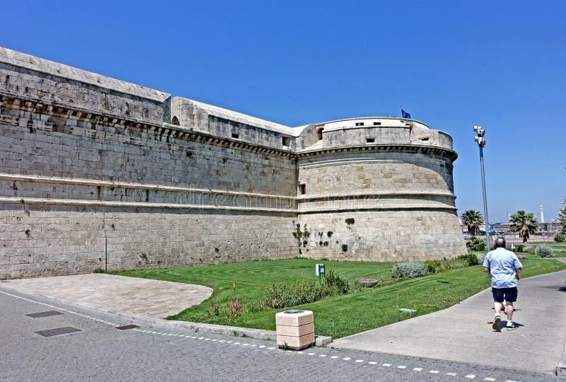 Fortress in Civitavecchia. Civitavecchia, Rome Italy The Forte Michelangelo is a fortress that protects the port of Civitavecchia. The fortress was begun in 1508 stock photo