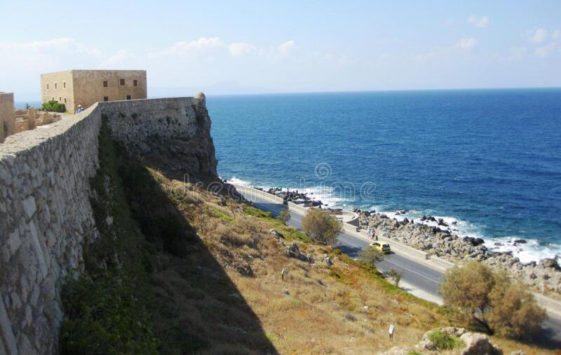 fortress-on-coastline stock photo