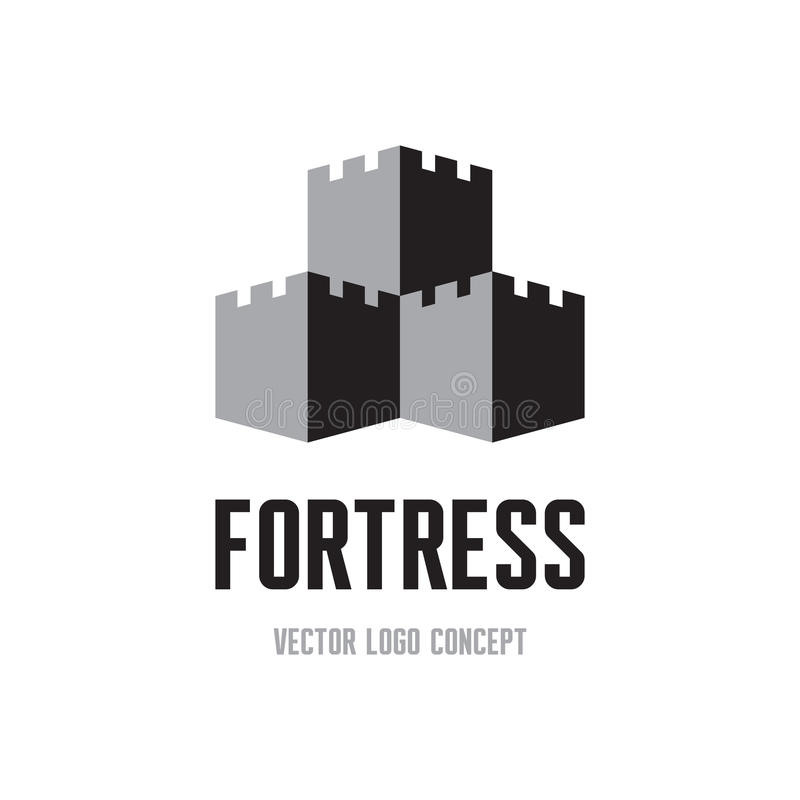 Fortress - creative logo sign concept. Castle tower abstract illustration. Vector logo template.  royalty free illustration