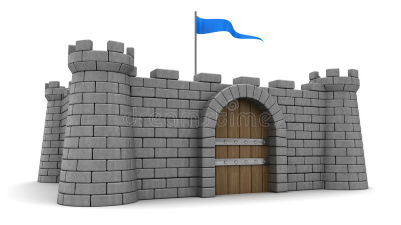 Fortress. 3d illustration of fortress with blue flag royalty free illustration