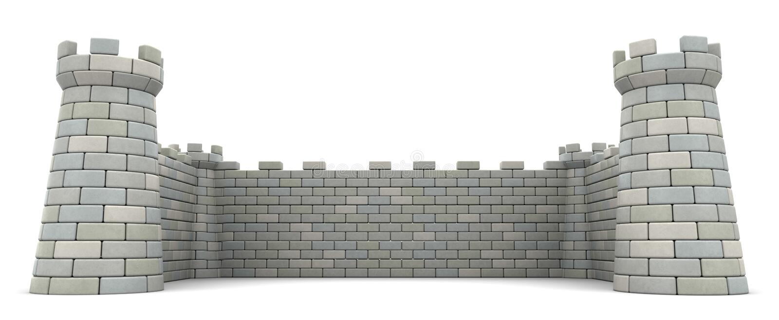 Fortress. 3d illustration of fortress walls, empty space template vector illustration