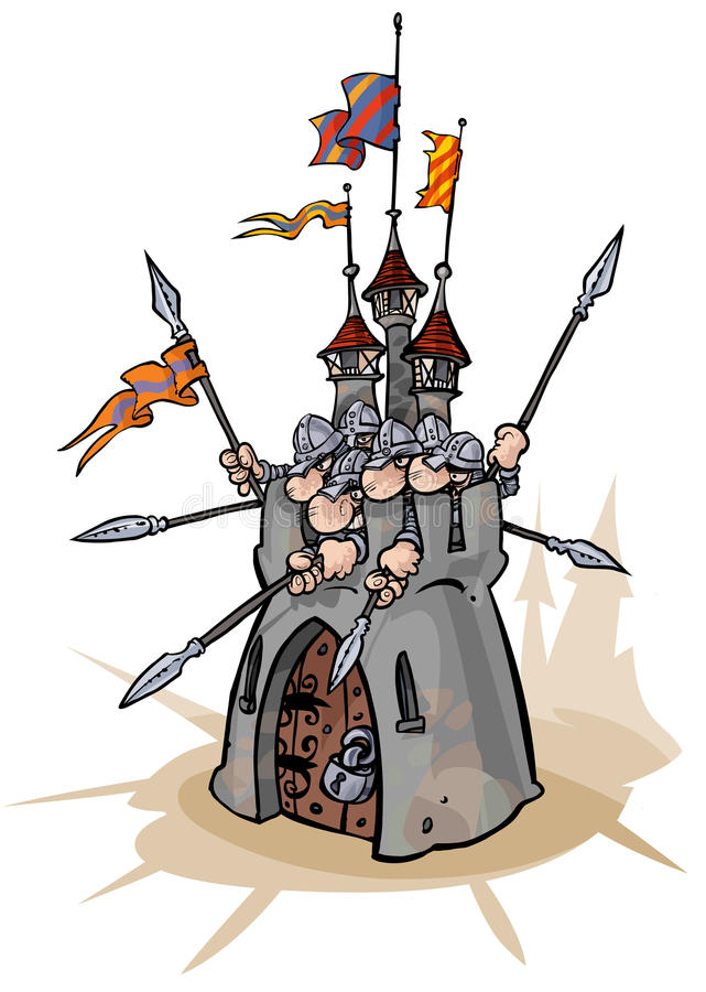Fortress with defenders. Cartoon illustration of a fortress with defenders in stock illustration