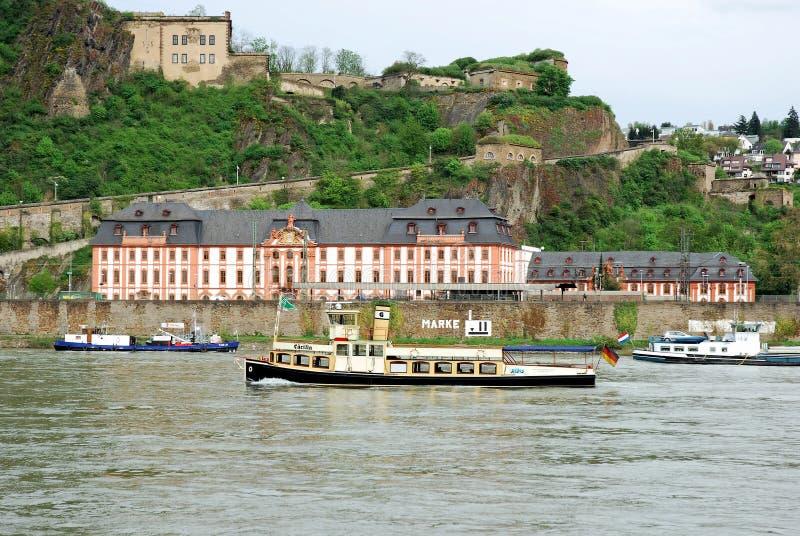 Coblenz - Fortress Ehrenbreitstein, train station Koblenz-Ehrenbreitstein, river Rhine. Coblenz, Ehrenbreitstein Fortress, Europes largest fortress complex after stock image