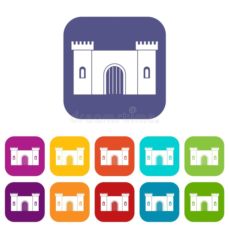 Fortress with gate icons set flat. Fortress with gate icons set vector illustration in flat style In colors red, blue, green and other royalty free illustration