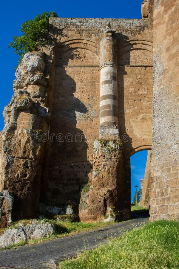 Fortress Gate. The imposing gate to the walled city of Orvieto stock image