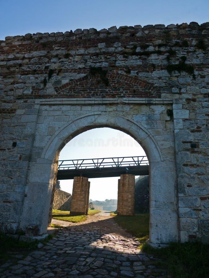 Fortress gate with a wooden bridge at Kalemegdan fortress, Belgrade royalty free stock image