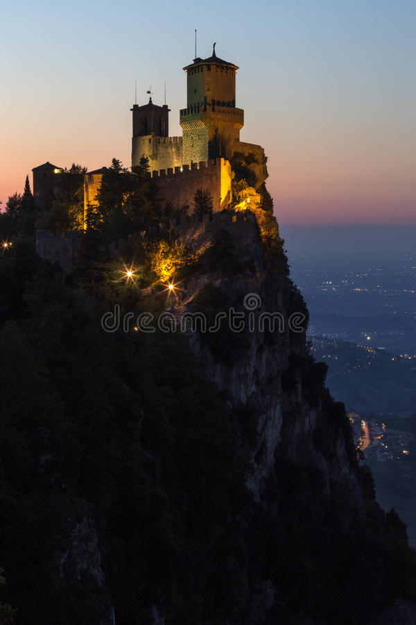 Fortress of Guaita - Mount Titano - San Marino. The fortress of Guaita on Mount Titano in San Marino. The Republic of San Marino is an enclaved microstate stock images