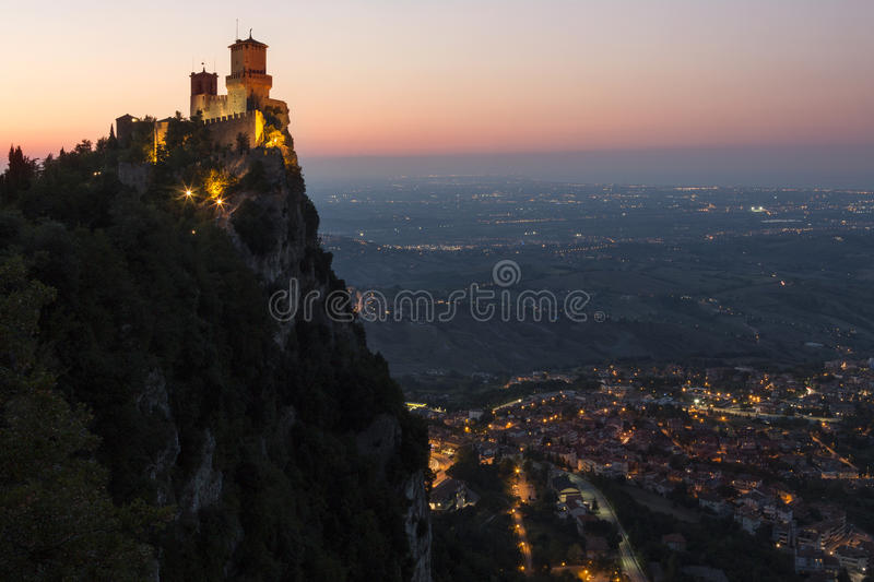 Fortress of Guaita - Mount Titano - San Marino. The fortress of Guaita on Mount Titano in San Marino. The Republic of San Marino is an enclaved microstate royalty free stock photo