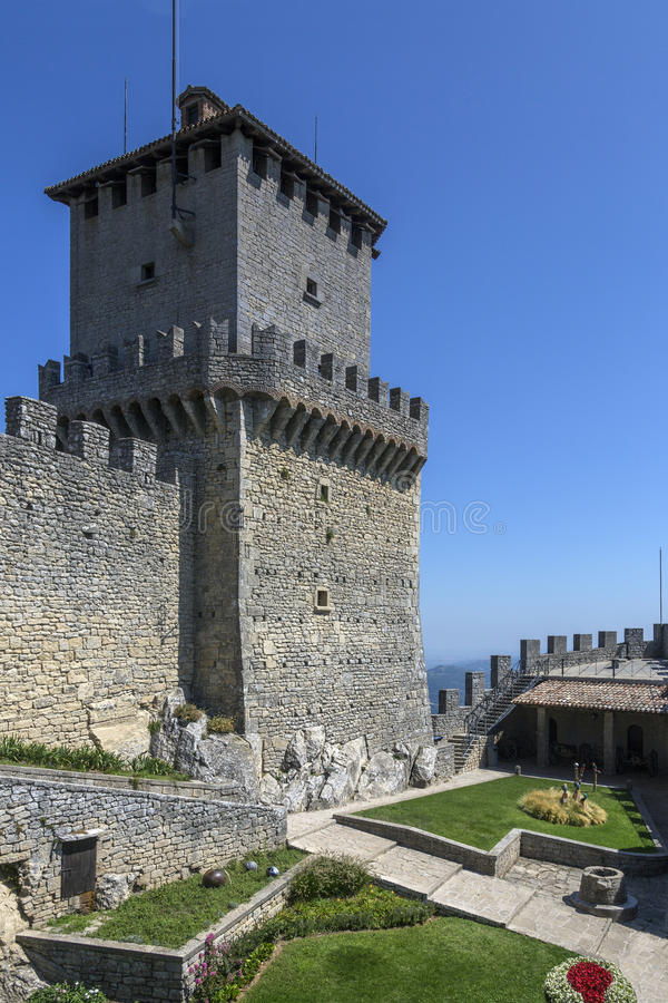 Fortress of Guaita - San Marino. The fortress of Guaita on Mount Titano in San Marino. The Republic of San Marino is an enclaved microstate surrounded by Italy royalty free stock images