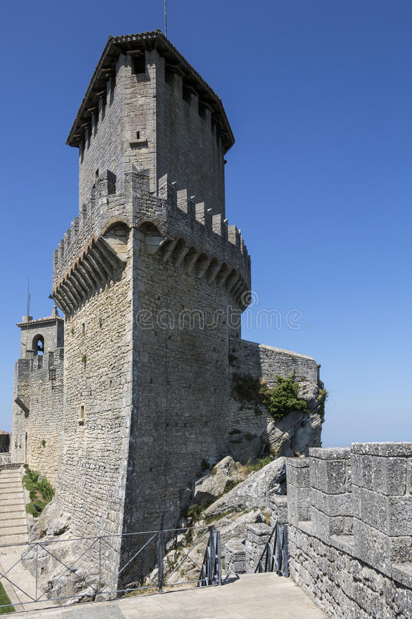 Fortress of Guaita - San Marino. The fortress of Guaita on Mount Titano in San Marino. The Republic of San Marino is an enclaved microstate surrounded by Italy royalty free stock photos