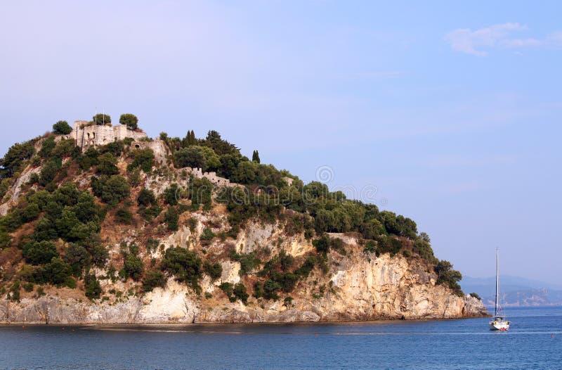 Fortress on hill Parga summer season landscape. Greece stock images