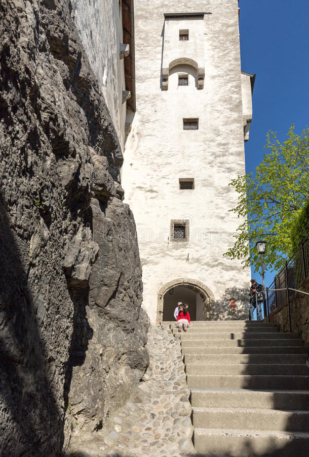 Fortress Hohensalzburg, beautiful medieval castle in Salzburg stock images