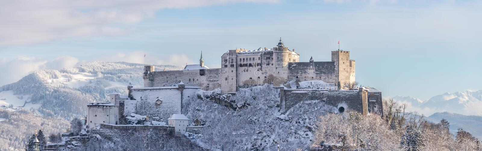 Fortress Hohensalzburg in the Winter, snowy. Landmark tourism europe travel frost landscape vacation medieval magic historic old panorama architecture austria royalty free stock photos