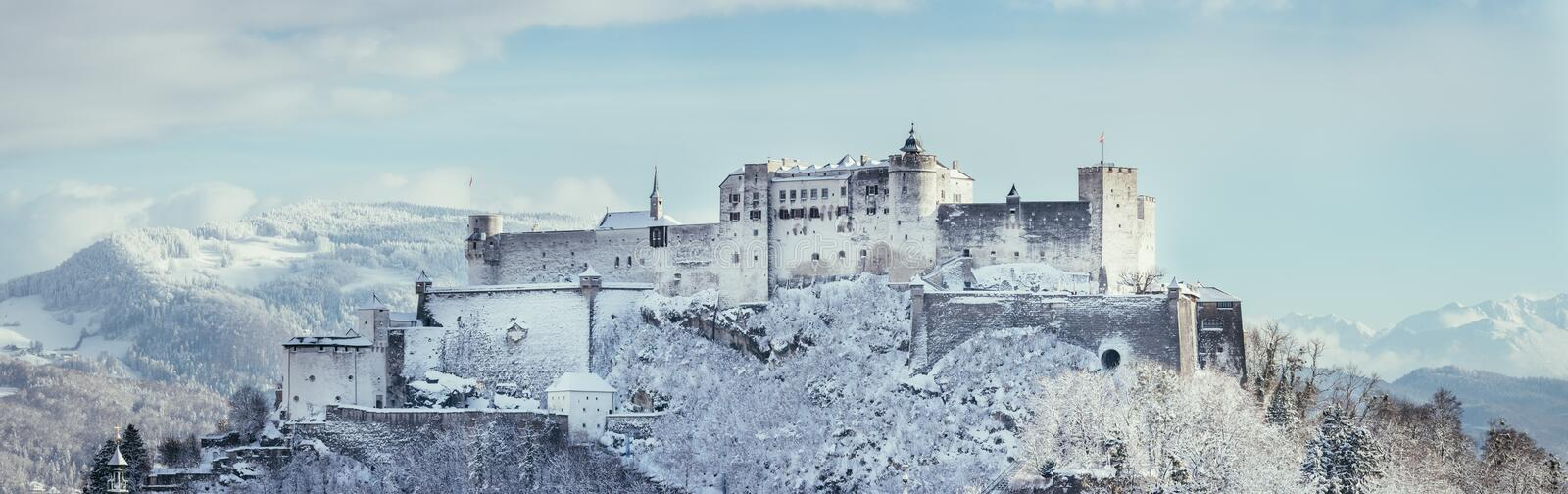 Fortress Hohensalzburg in the Winter, snowy. Landmark tourism europe travel frost landscape vacation medieval magic historic old panorama architecture austria stock photo