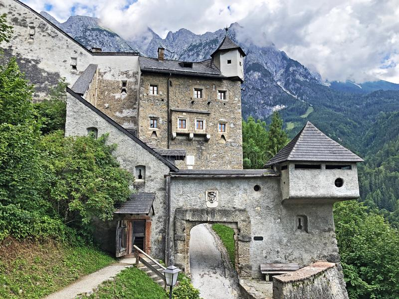 Fortress Hohenwerfen or Festung Hohenwerfen or Burg Hohenwerfen or Hohenwerfen Adventure Castle, Pongau royalty free stock photography