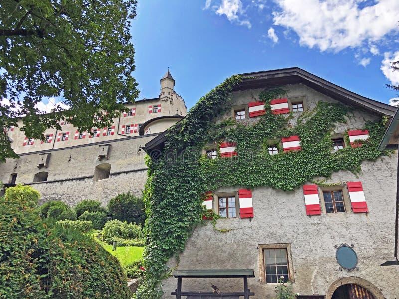 Fortress Hohenwerfen or Festung Hohenwerfen or Burg Hohenwerfen or Hohenwerfen Adventure Castle, Pongau. Salzburg, Austria stock images
