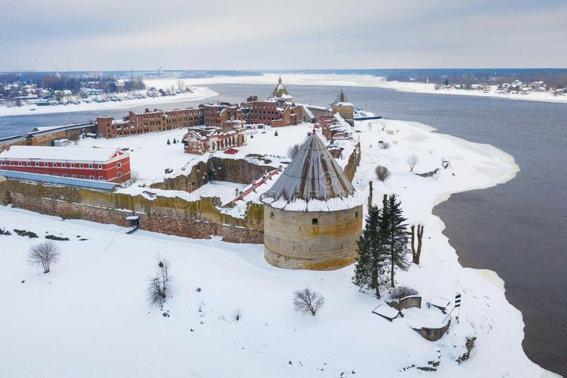 Fortress on the island. Fortress Strong nutlet Oreshek. Ladoga lake.  royalty free stock photography