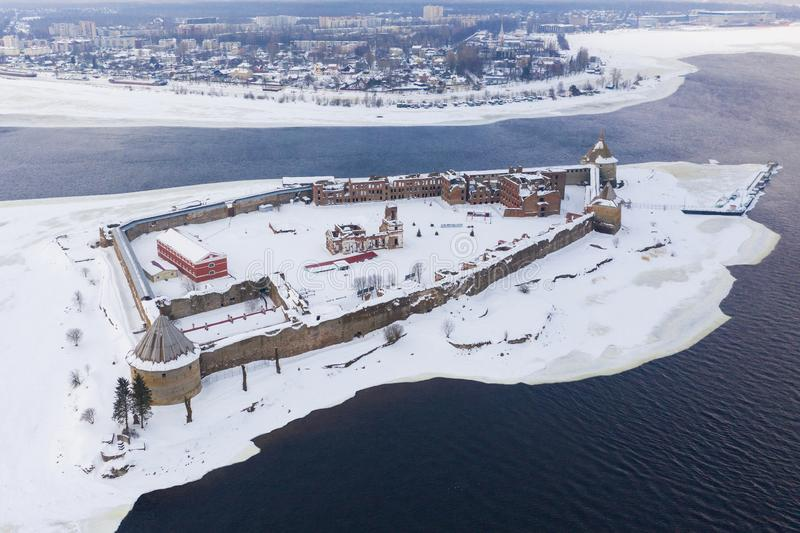 Fortress on the island. Fortress Strong nutlet Oreshek. Ladoga lake.  royalty free stock photos