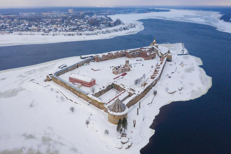 Fortress on the island. Fortress Strong nutlet Oreshek. Ladoga lake.  stock images
