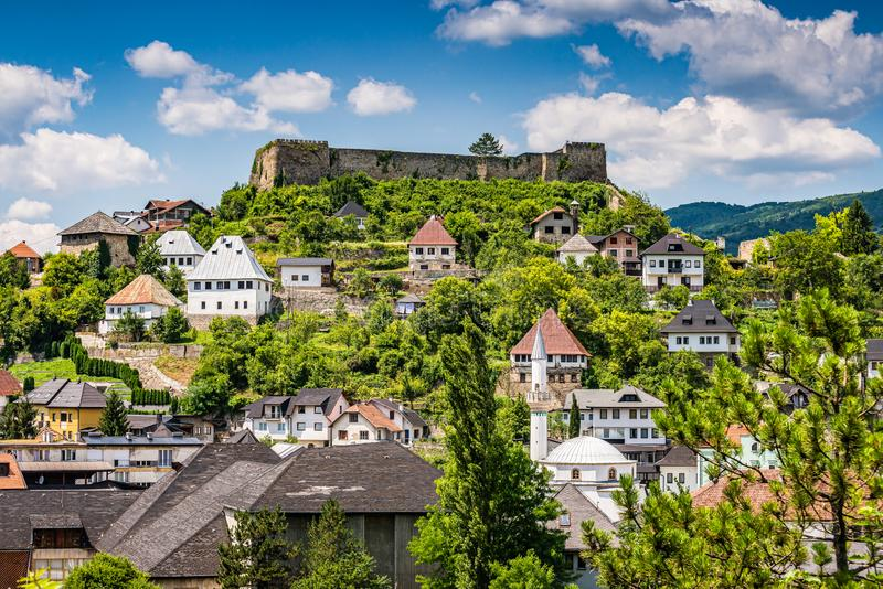 Fortress Jajce and traditional houses, Bosnia and Herzegovina.  royalty free stock photos