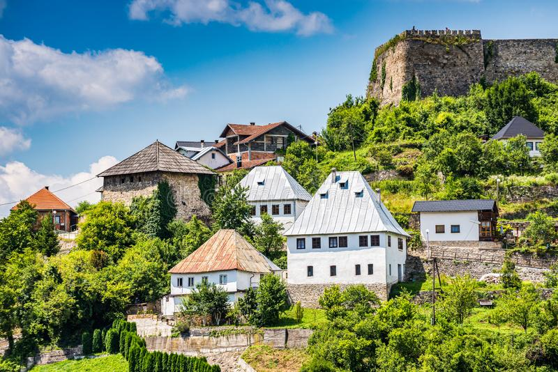 Fortress Jajce and traditional houses, Bosnia and Herzegovina.  royalty free stock photography