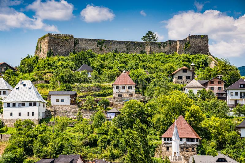 Fortress Jajce and traditional houses, Bosnia and Herzegovina.  stock image