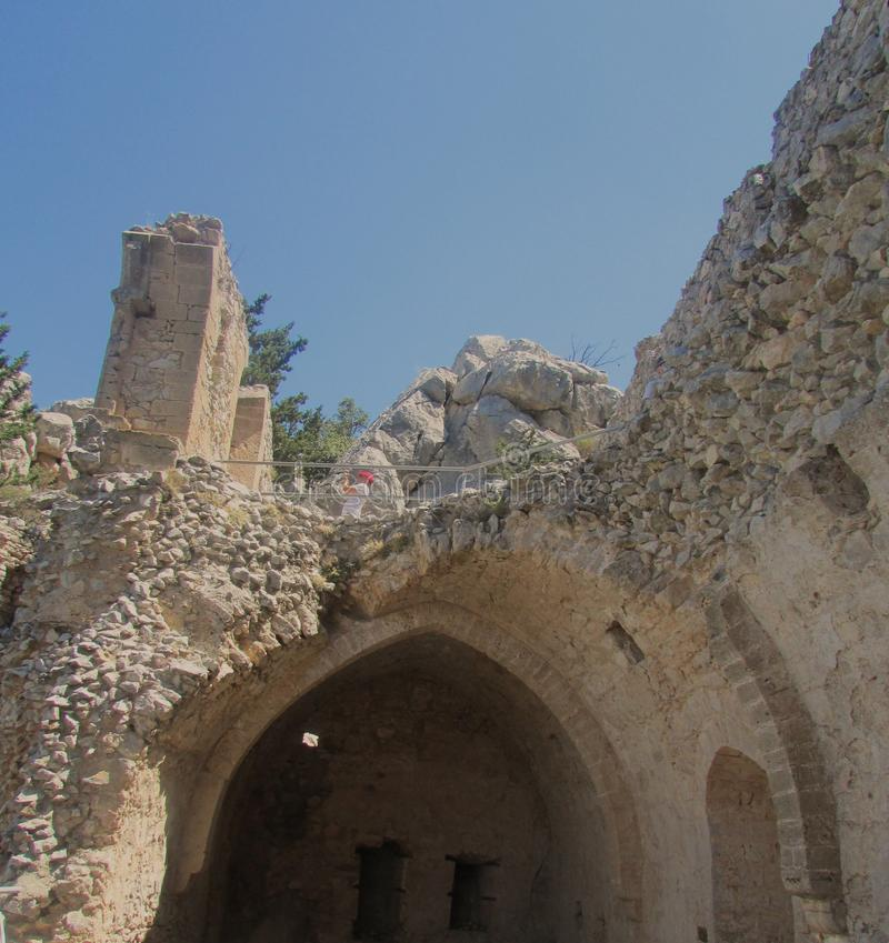 The fortress of the king of the crusaders Richard the Lionheart in northern Cyprus, the 12th century. royalty free stock image