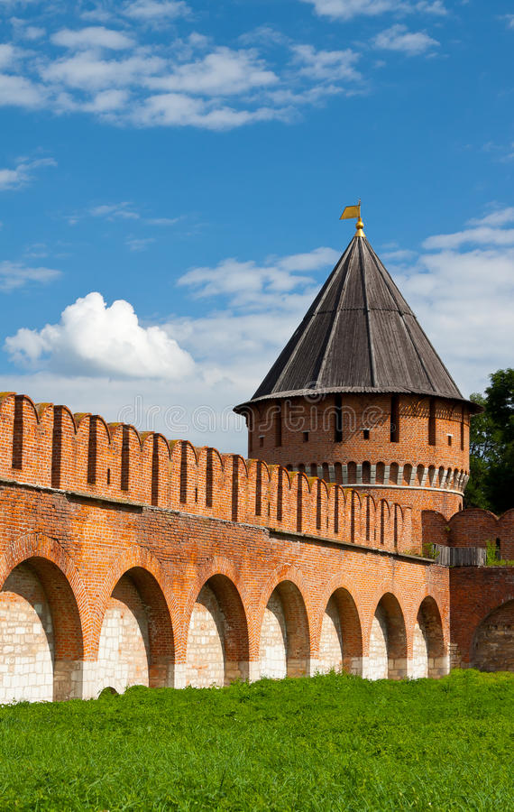 Fortress kremlin wall. Tula's fortress kremlin wall with tower in Russia royalty free stock photo