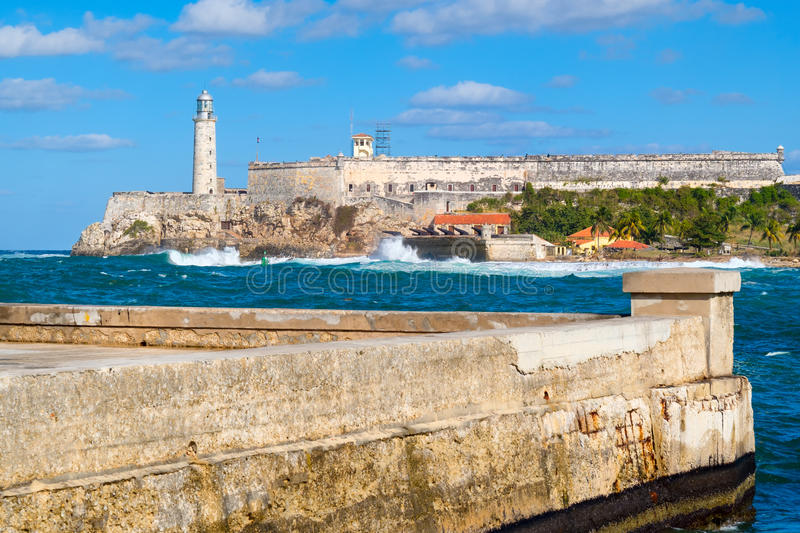 The fortress and lighthouse of El Morro and the Malecon seawall. Symbols of the city of Havana in Cuba royalty free stock photos